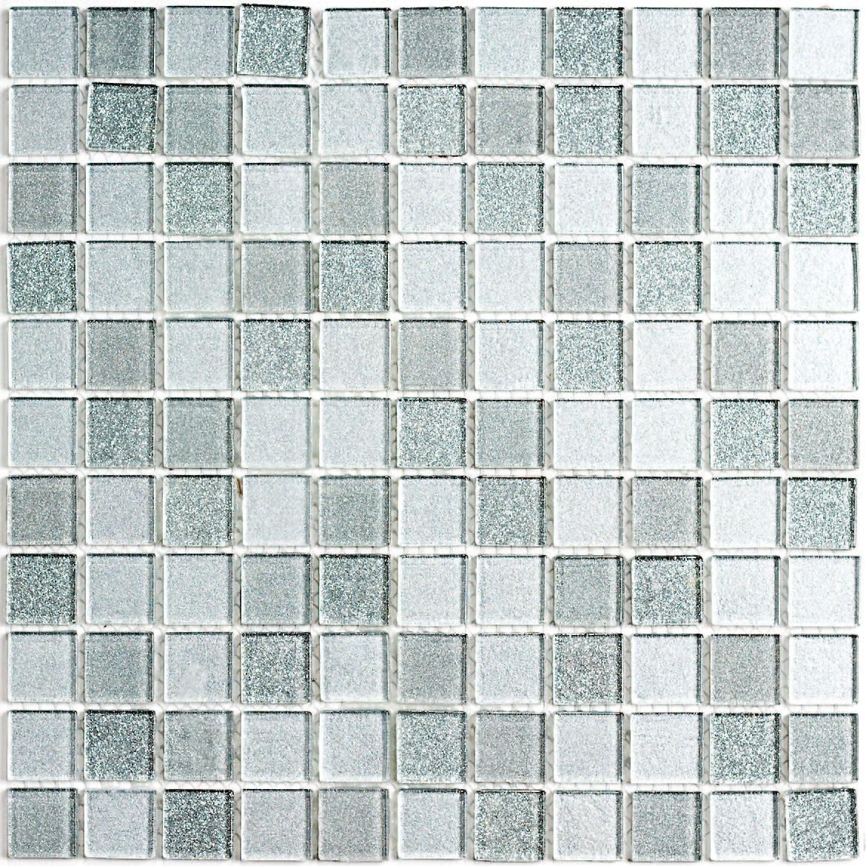Silver ceramic tile